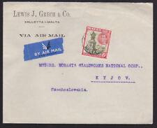 Malta 1948 Cover Air Mail Lewis J Green Valletta to Kyjov KGVI Czechoslovakia