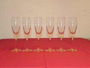 Luminarc Pink Stem Champagne Flutes Set of 6 Marked France 6 oz  Wine Glasses