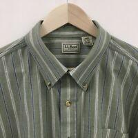 Mens XL LL BEAN Striped Shirt Green -SUPER-  9c