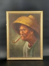 Chinese Farmer Smoking Portrait Oil On Canvas Board Wahso Chan Inspired