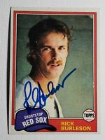 1981 Topps Rick Burleson Autograph Red Sox, Angels Card Signed, Auto #455