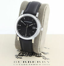 New 100% Auth Burberry BU9009 The City Swis Black Dial Leather Men's Watch