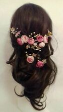 Wedding flower headdress Headpiece pink Vine Faux Pearl Bridal ranunculus clips