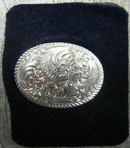 MONTANA SILVERSMITHS OVAL WESTERN FLORAL SCROLL DESIGN COWBOY COWGIRL MONEY CLIP