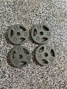 """Set Of 4 5lb Weight Plates - Standard 1"""" Grip Cast Iron 20lbs Total - Fast Ship!"""