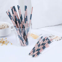 25pcs American Flag Pattern Paper Drinking Straws Independence Day Party Deco  S