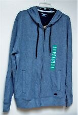 NWT DKNY JEANS zip front blue gray hoodie jacket sz XL cotton blend soft jacket