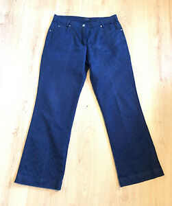 Jaeger Ladies Trousers 14 Navy Patterned Smart Evening Jeans Casual Winter