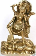 "Nice JAI KALI Mama Brass Statue Mother Of God 7.5"" Figure Hindu Art India 1.9 KG"