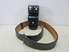 Don Hume Leather Gun Belt and 3 Pocket Pouch