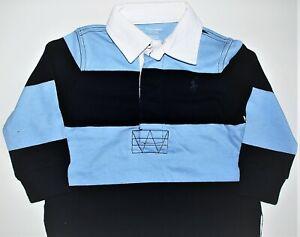Baby Boys Ralph Lauren Navy & Sky Rugby Shirt - 3m,6m,9m,18m, 24m CLEARANCE