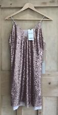 NEXT PETITE Sequin DRESS Size 8 NUDE pink strappy BNWT RRP £50