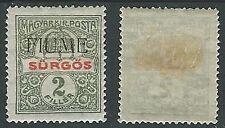 1918-19 FIUME GIORNALI 2 F SOPRASTAMPA A MANO II TIPO MH * - F7-2