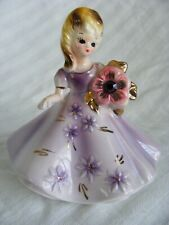Josef Originals February Amethyst Birthstone Birthday Girl Figurine Japan