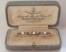 Antique Edwardian Gold & Platinum Brooch c1910 with Pearls & Diamonds in Case