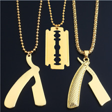 Barber Shop Pole Razor Barbers Rotating Light Pendant Gold/Silver Chain Necklace