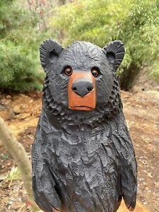 Chainsaw Carved CHUBBY BLACK BEAR CUB, BLACK WALNUT WOOD Bear Statue UNIQUE!