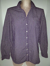 TOMMY HILFIGHER Womens Long Slevee Button Front Oxford Shirt Large Purple White