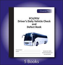 5 x Driver Daily Vehicle Check & Defect Book-PCV/PSV Bus/Coach-20 Part Duplicate