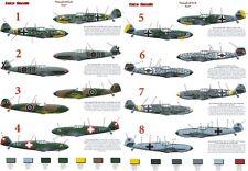 Messerschmitt BF109E  Euro Decals in 1/72 & 1/48scale