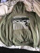 mens police hoodie used size large