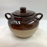 "USA 2-Handled 6"" Bean Pot with Lid Vintage Brown two tone Stoneware Crock VGC"