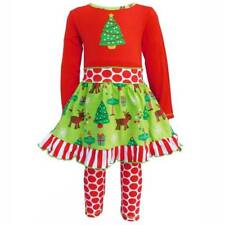 AnnLoren Two-Piece Red and Green Christmas Tree & Polka Dot Set  Girls 6