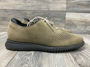 Cole Haan 2.ZEROGRAND Lined Laser Brogue Oxford Barley Brown Suede | Size 12