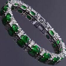 Emerald and White Topaz 7 Inch Gemstone Bracelet 14KT White Gold 5X7MM