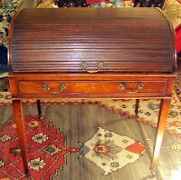 18th C. George III/Hepplewhite Period Mahogany Tambour Cylinder Writing Desk