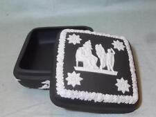 Wedgwood Black Jasperware Square Lidded Trinket Box #2
