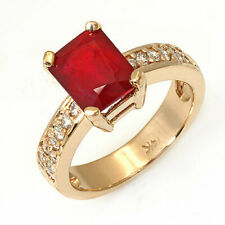 Estate ring 3.70 ct natural ruby and diamond 14k gold