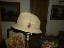 VINTAGE earland Brothers Made in England Tweed Country Cappello Con Fodera  Tartan 8bd2275aab9e