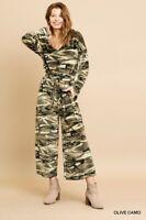 Umgee Camouflage Cozy Pant Jumpsuit  S M L