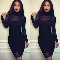Sexy Women Black Bodycon Lace Evening Cocktail Party Long Sleeve Mini Dress UK