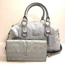 Coach F15443 Ashley Leather Trim Satchel Shoulder Bag Purse Tag Charm & Wallet