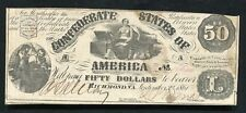 T-14 1861 $50 Fifty Dollars Csa Confederate States Of America Currency Note