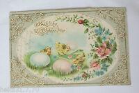 """""""Ostern,Küken, Blumen, Ostereier, Jugendstil"""" 1900, Prägekarte ♥  (33887)"""