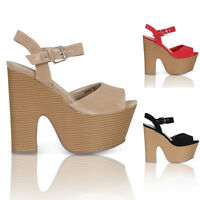 NEW LADIES HIGH HEELS WOMENS PLATFORM SHOES PARTY PROM FUNKY WEDGES SIZE 3-8