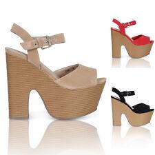 Nuevas señoras de Tacones Altos Para Mujer Zapatos De Plataforma Partido Prom Funky Cuñas Tamaño 3-8