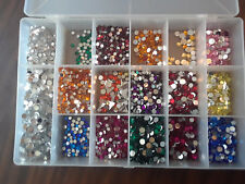 Lot of Assorted Acrylic Rhinestone Gems, Sorted in a box, 5 & 7mm -100s of gems