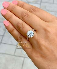 14K Yellow Gold Round Moissanite And Natural Diamond Engagement Ring 3.30Ctw