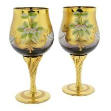 GlassOfVenice Set of Two Murano Glass Wine Glasses 24K Gold Leaf - Purple