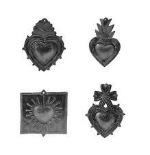 "Haitian Metal Wall Art Small Hearts, 6"" by 3"", Assorted Set of 4"