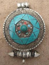 Antique Handmade Tibetan Turquoise Amulet Gau Box Pendent Locket, Nepal