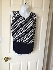 Chicos Knit Kit Ink ( Navy ) White Stripe Variance Sleeveless Top Size 1