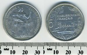 French Oceania 1952 - 5 Francs Aluminum Coin - Seated Liberty