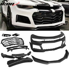 Fits 16-18 Chevrolet Camaro Front Bumper Cover Conversion ZL1 Style Black PP