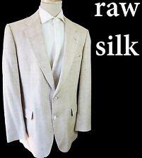 Aquascutum Herringbone raw silk summer 44r vtg off white beige country club 42r