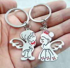1Pair lovers Key chain lovely angel Boys and girls Keychain stainless